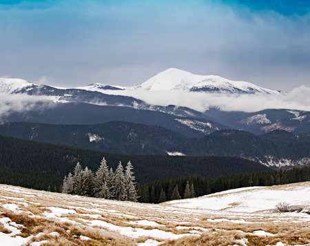 Beautiful winter mountains landscape. View on the highest peak of the Ukrainian Carpathians - Goverla photo