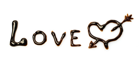 endorphines: Chocolate word love isolated on white