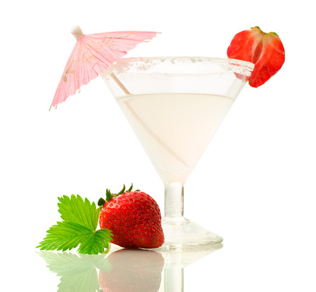 alcoholic drink: Alcoholic drink with strawberries isolated on white Stock Photo