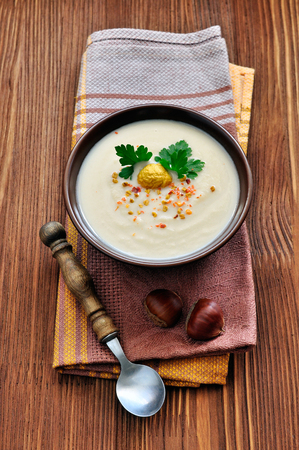 Chestnut soup in rustic stile Stock Photo
