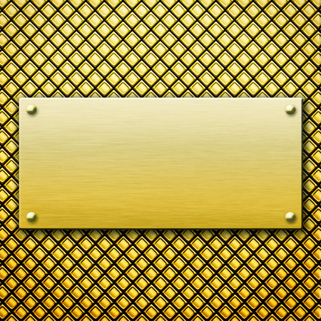 hexahedron: Golden metal background with plate and rivets Stock Photo