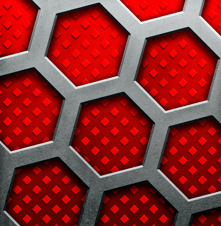 red metal: Abstract red metallic background with a hexagons Stock Photo