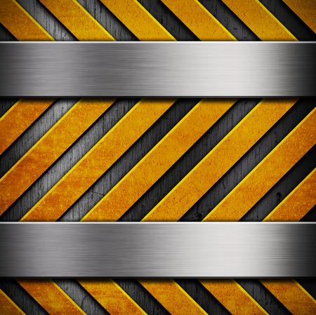 hazard stripes: Metal texture with yellow hazard stripes Stock Photo