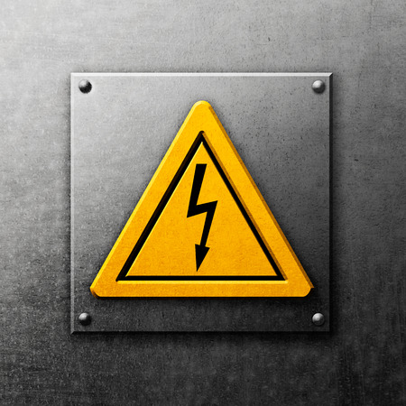 voltage: Yellow sign high voltage on metal background