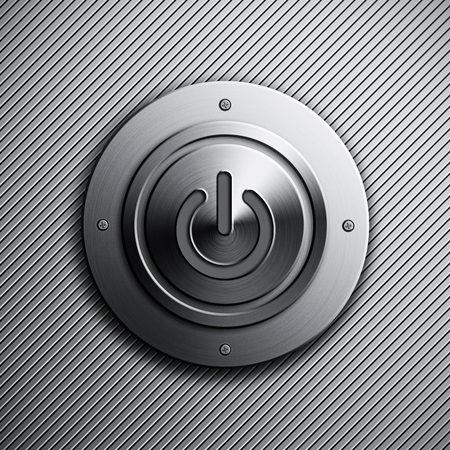 powerbutton: Background with a metal power button
