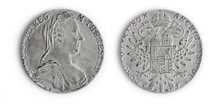 thaler: Old coins The Maria Theresa thaler isolated over white Stock Photo