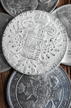 thaler: Old silver coins close up. Dollar, ruble, thaler Stock Photo