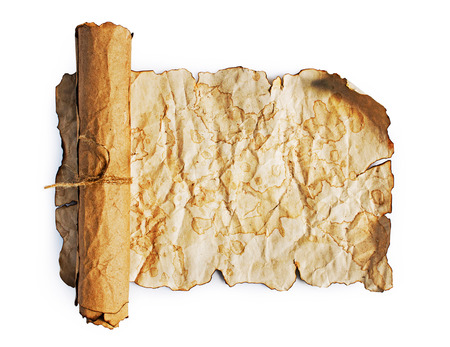 manuscript: The ancient parchment and scroll on a white background