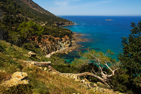 polis: Top view on the Mediterranean coast, Cyprus, near Polis Stock Photo