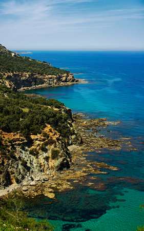 polis: The rocky coast of the Mediterranean Sea. Cyprus, the Akamas peninsula.