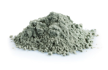 Pile of blue cosmetic clay isolated on white background 写真素材