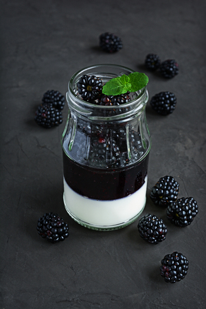 recipe decorated: Blackberry panna cotta with jam and fresh berries Stock Photo