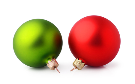 Two red and green Christmas balls isolated on white background