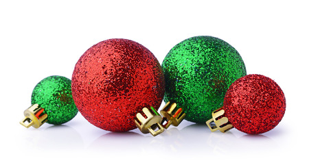 Red and green Christmas balls isolated on white background Stock Photo