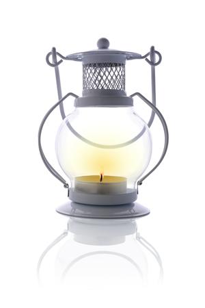 White vintage candle lantern or candle holder isolated on white