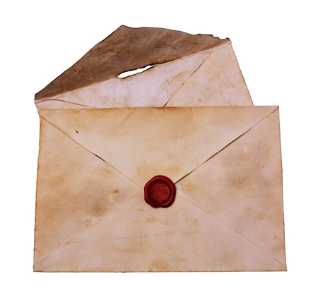 sealing: Two old envelope with red sealing wax isolated on white Stock Photo