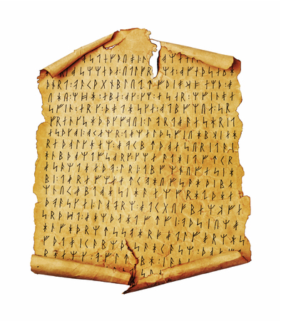 Ancient scroll with the Scandinavian runes isolated on white. Old paper document with hieroglyphic writing. Stock Photo