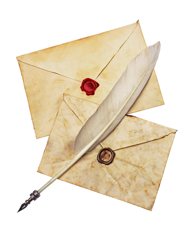 seal wax: Two old envelopes with red and brown seal wax and feather pen isolated on white