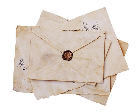 seal wax: Old letters and envelope with seal wax isolated on white