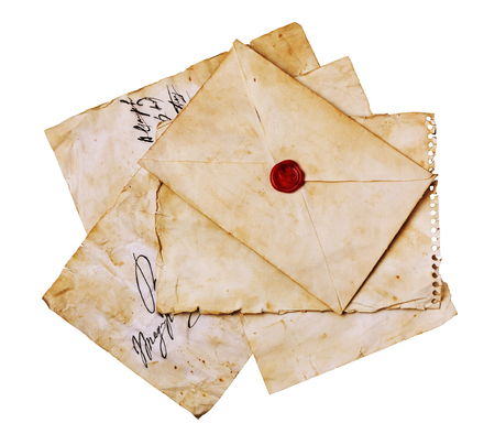 Vintage letters and envelope with seal wax isolated on white Stock Photo