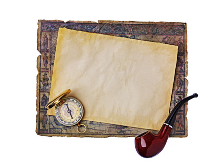 outworn: Nautical objects: ancient map, smoking pipe and compass isolated on white background Stock Photo
