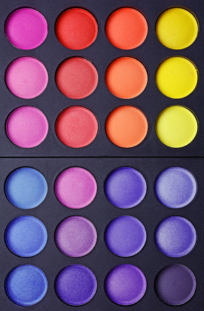 Professional multicolour eyeshadows palette for background Stock Photo