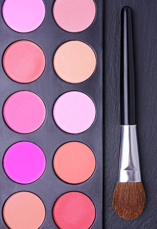 Professional multi colored blushes palette and brush on black slate background Stock Photo