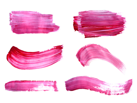 leaking: Set of purple paint strokes isolated on white background Stock Photo