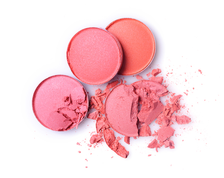 Round pink crashed eyeshadow for make up as sample of cosmetic product isolated on white background Stock Photo