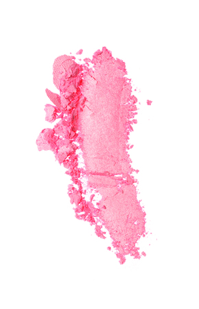 Smear of crushed shiny pink eyeshadow as sample of cosmetic product isolated on white background