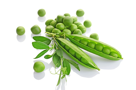 pea pod: Healthy food. Fresh green peas with leaves isolated on white background