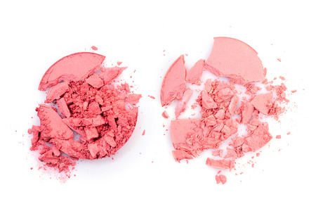 Pink crushed eyeshadow for make up as sample of cosmetic product isolated on white background Stock Photo