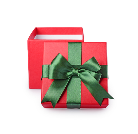 Classic open red gift box with green satin bow isolated on white background