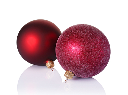 Close-up of beautiful red christmas balls isolated on white background Banco de Imagens