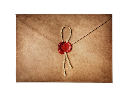 Vintage craft envelope with red wax seal stamp for correspondence isolated on white background