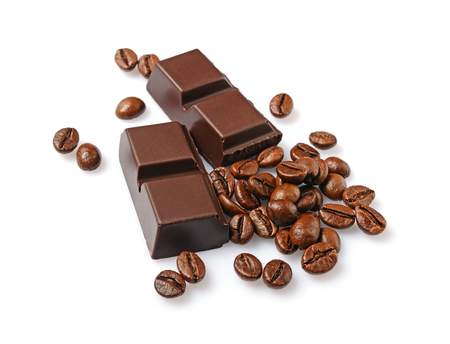 Close-up pieces of dark chocolate bar with coffee flavor and beans isolated on white background