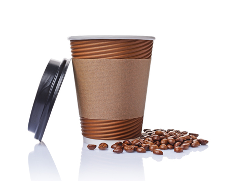 Take-out blank paper brown coffee cup with black cover, craft cup holder and beans isolated on white background