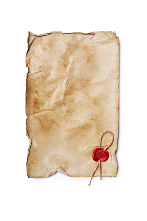 Mockup of empty old vintage yellowed paper sheet with red sealing wax isolated on white background
