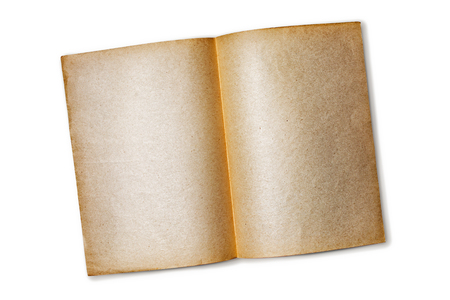 Mockup of empty old vintage paper sheets isolated on white background