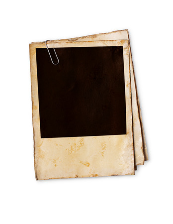 Empty old yellowed paper layout for vintage photo isolated on white background
