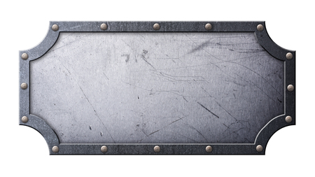 Gray grunge scratched metallic nameplate in figured frame on rivets for design isolated on white background