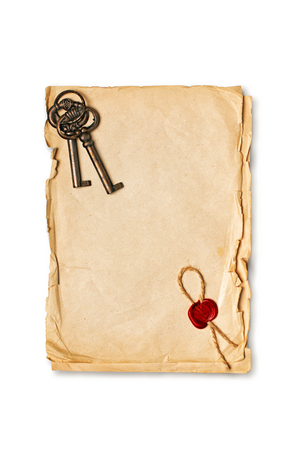 Mockup of empty old vintage paper sheets with red wax seal and retro keys isolated on white background