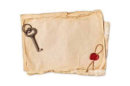 Mockup of empty old vintage paper sheets with red wax seal and retro key isolated on white background