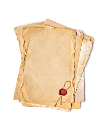 Mockup of empty old vintage yellowed paper sheets with red sealing wax isolated on white background Imagens