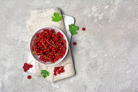 Top view on healthy fresh red currant berry in white bowl on gray concrete background with copy space