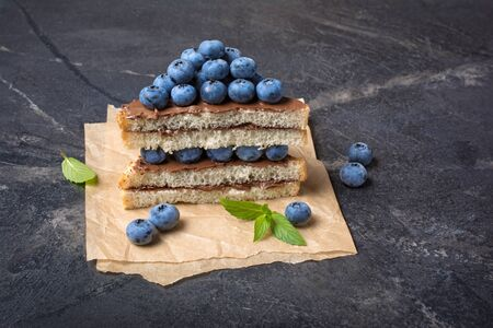 Toast bread with chocolate spread, pine nuts, fresh blueberries and mint for delicious breakfast on black marble background 写真素材