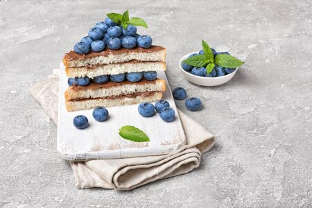 Toast bread with chocolate spread, pine nuts, fresh blueberries and mint for delicious breakfast on white wooden board and gray concrete background 写真素材