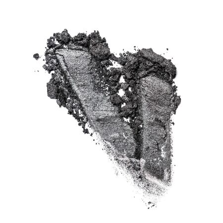 Brush stroke of shiny crushed gray eye shadow as sample of cosmetic product isolated on white background