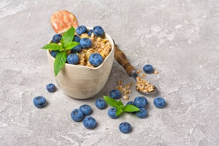 Oatmeal or granola with fresh blueberry in rustic cup for healthy breakfast on gray concrete background with copy space 写真素材