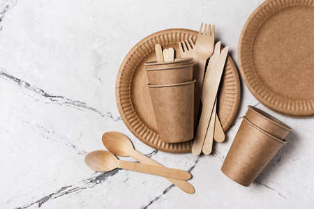 Top view of brown craft disposable take-out cup, plate, and wooden fork, spoon, knife for picnic on white marble background
